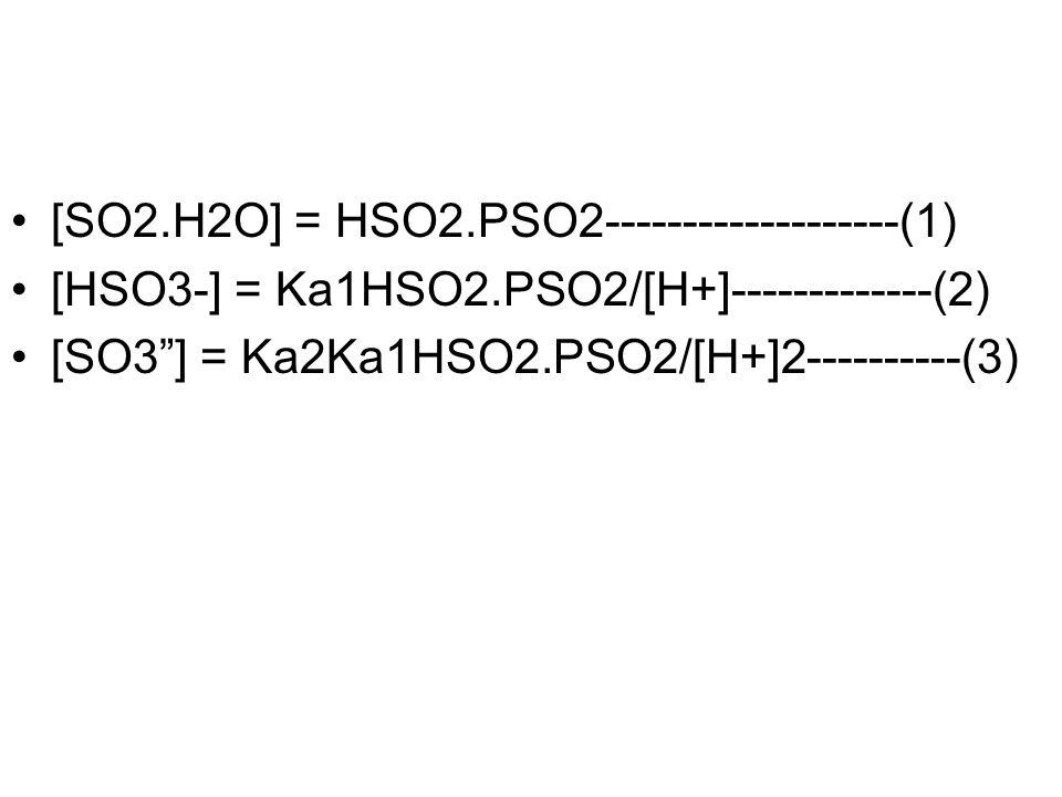[SO2.H2O] = HSO2.PSO2-------------------(1)